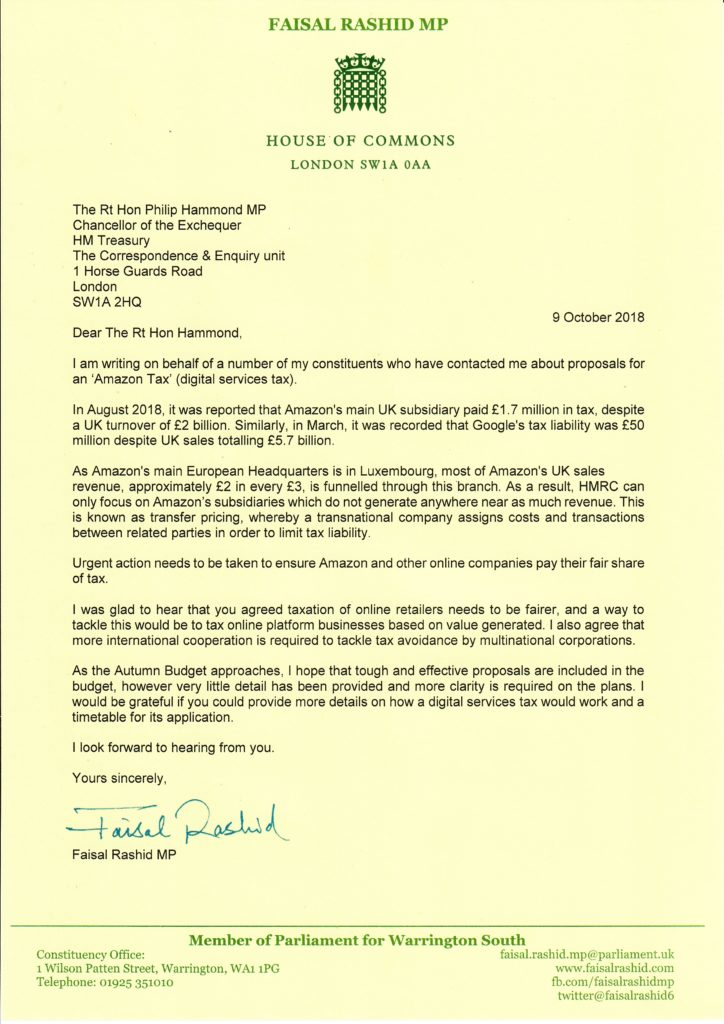 Faisal's Letter to the Chancellor on Amazon Tax